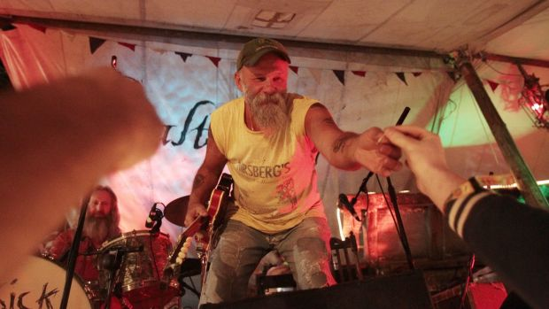 "Seasick Steve performs on the Salty Dog stage: ""There was a bit of a struggle getting him off."" Photograph: Niall Carson/PA Wire"