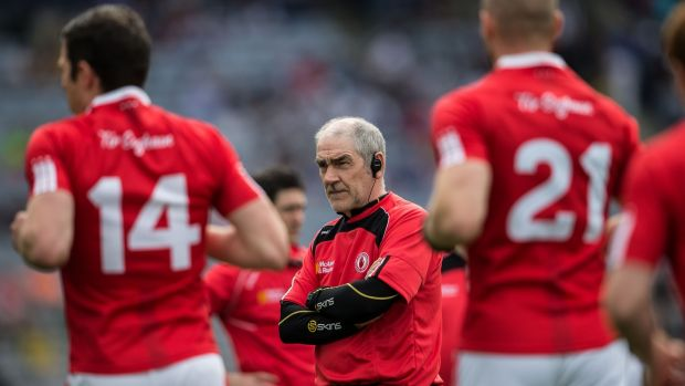 "Mickey Harte: ""We don't have to talk Dublin up. Their record says it for themselves . . .it's the full package that we have to deal with. Photograph: Cathal Noonan/Inpho"