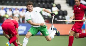 Matthew Bell during Ireland's 7-1 win over Poland in Amsterdam. Photograph: Koen Suyk/Inpho