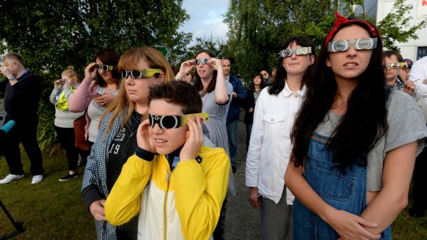 Hayden Campbell Shaw, from Clonsilla, at Astronomy Ireland headquarters in Blanchardstown for the partial solar eclipse. Photograph: Cyril Byrne/The Irish Times