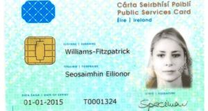 An example of the new public services card. Photograph: Bryan O'Brien/The Irish Times