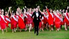 Daithí O'Sé with the Rose of Tralee contestants. Photograph: Cyril Byrne