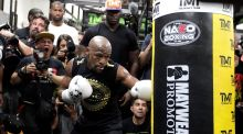 Chris Eubank Jnr believes Floyd Mayweather will look to knock Conor McGregor out in Las Vegas on Saturday. Photograph: John Gurzinski/AFP