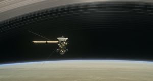 An artist's rendering of 'Cassini' as the spacecraft makes one of its final five dives through Saturn's upper atmosphere in August and September 2017
