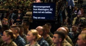 A teleprompter displays US president Donald Trump's speech as he delivers an address to the nation at Fort Myer in Arlington on Monday on the US's continuing military involvement in Afghanistan. Photograph: Al Drago/New York Times)