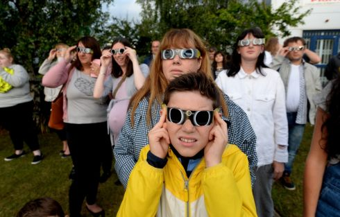 21/08/2017 NEWS. Hayden Camnpbell Shaw from Clonsilla  at Astronomy Ireland Headquarters in Blanchardstown  for  partial  Solar  eclipse, last night. Photograph: Cyril Byrne / THE IRISH TIMES