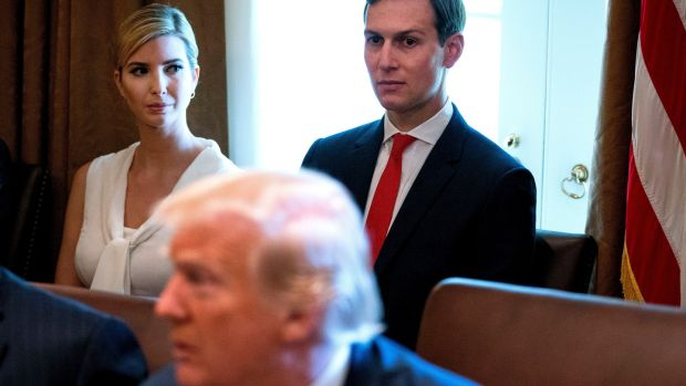 President Donald Trump's daughter Ivanka and son-in-law Jared Kushner: Bannon believed they had naive political instincts and were going to alienate Trump's core coalition of white working-class voters. Photograph: Doug Mills/The New York Times