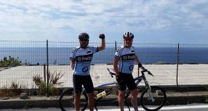 Eamonn McSweeney with Cathal Gormley, Eamonn's tandem pilot for a charity cycle.
