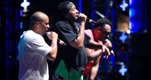 Consequence, Q-Tip and Jarobi White of A Tribe Called Quest on stage this year. Photograph: by Christopher Polk/Getty Images for FYF