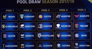 The four pools for the 2017/18 Champions Cup. Photograph: Morgan Treacy/Inpho