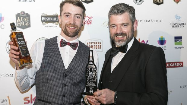 Luke O'Meara from The Liquor Rooms with Fergal Wilson of Bushmills, sponsor of the best cocktail bartender award. Photograph: Paul Sherwood