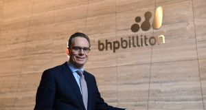 BHP Billiton chief executive Andrew Mackenzie  before releasing the full-year results to the media and analysts at the company's headquarters in Melbourne on Tuesday. Photograph: Joe Castro/EPA