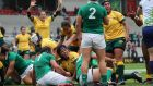 Australia's Hilisha Samoa scores their third try against Ireland. Photograph: Billy Stickland/Inpho