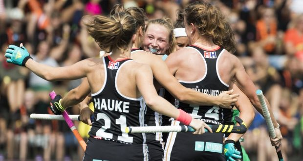 0e7446bfe2877 Nike Lorenz of Germany celebrates with teammates after scoring against  Ireland. Photograph: Getty Images