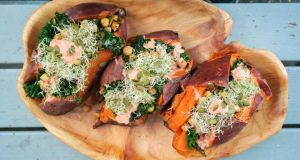 Super seed-stuffed roast sweet potatoes