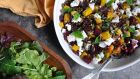 Roast beetroot with lentils and feta