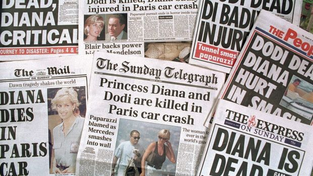 Newspaper headlines announcing the death of Princess Diana and Dodi al-Fayed in a car crash in Paris. Photograph: Tim Graham/Getty