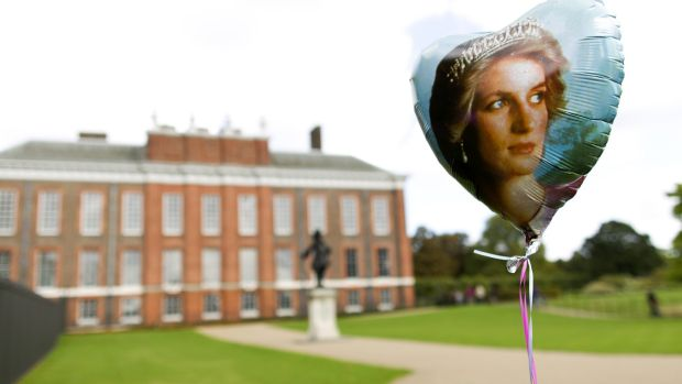 A balloon bearing a picture of Britain's Princess Diana outside Kensington Palace. Photograph: Justin Tallis/AFP/Getty