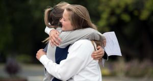 Caoimhe Andrews and Evie Byrne, Rathdown students celebrating Leaving Certificate results in Glenageary, Co Dublin. Photograph: Jason Clarke