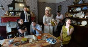 TENEMENT WAYS: Leanna Cuttle (centre, playing Nancy), Lilly Rose Boss (Sarah), Gillian McCarthy (Kate), Daniel Monaghan, (Groom), John Cronin (Da), and Robbie O'Connor  in the ANU production of Hentown at the Tenement Museum, 14 Henrietta Street, Dublin, running from August 24th until October 1st. Photograph: Cyril Byrne/The Irish Times