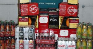 Over 530 litres of alcohol was found hidden in a consignment of soft drinks and snacks that had arrived at Dublin Port from Portugal. Photograph: Revenue