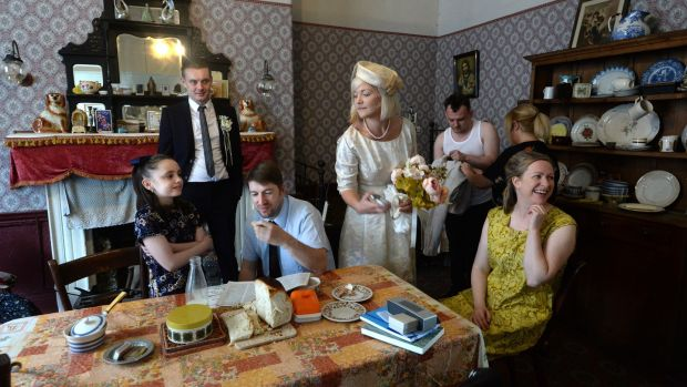 Cast of the ANU production of Hentown in the Tenement Museum, 14 Henrietta Street. Show runs until October 1st. Photograph: Cyril Byrne