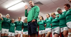 Head coach Tom Tierney addresses a dejected Ireland squad after the defeat to Australia at the  Kingspan Stadium, Belfast. Photograph: Dan Sheridan/Inpho