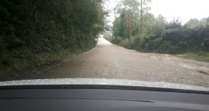 Flooding on the Arva to Cornafean road in Co Cavan after torrential rain on Tuesday afternoon.