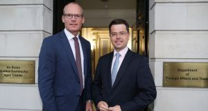 Simon Coveney, Minister for Foreign Affairs and Trade, with the Secretary of State for Northern Ireland, James Brokenshire,  in Dublin. Photograph:   Julien Behal