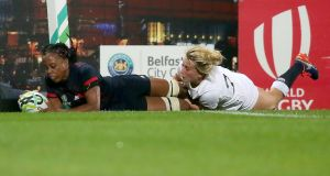 France's Julie Annery is tackled by England's Sarah Bern. Annery crosses the line but the try is disallowed. Photograph: Getty Images