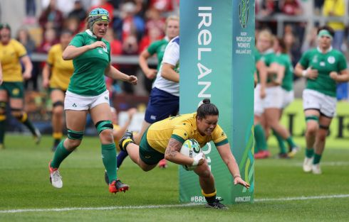 RUGBY WORLD CUP: Sarah Riordan of Australia dives for a try during a Women's Rugby World Cup 2017 match against Ireland at the Kingspan Stadium in Belfast. Photograph: David Rogers/Getty Images