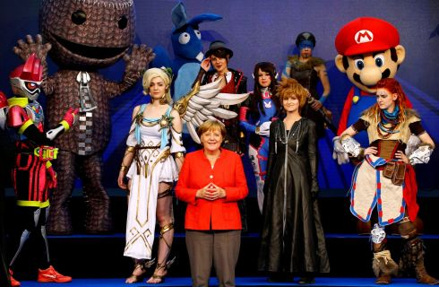 CHANCELLOR'S GAME: German chancellor Angela Merkel opens the world's largest computer games fair, Gamescom, in Cologne, Germany.  Photograph: Wolfgang Rattay/Reuters