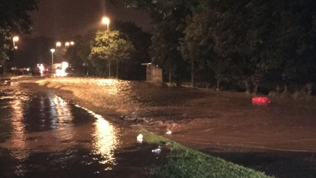 Main A6 road into Derry completely flooded at Drumahoe. Photograph: Freya McClements