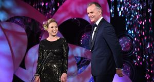 Sinéad McGahern Western Canada Rose onstage with Daithi Ó Sé at the Rose of Tralee. Photograph: Domnick Walsh/Eye Focus