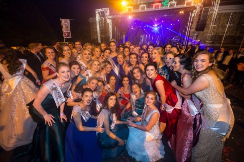The new Rose of Tralee Jennifer Byrne from Offaly celebrates with the Roses at the Midnight Madness party in Tralee. Photo By Domnick Walsh  Eye Focus