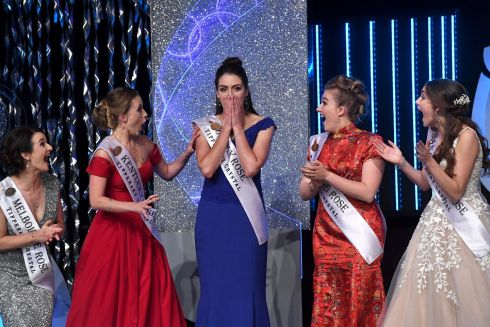 A delighted Jennifer Byrne who was selected as the 2017 Rose of Tralee onstage in the Rose of Tralee International Festival Dome on Tuesday 22 August 2017. Jennifer represented Offaly in this year's Festval.  Photo By Domnick Walsh  Eye Focus