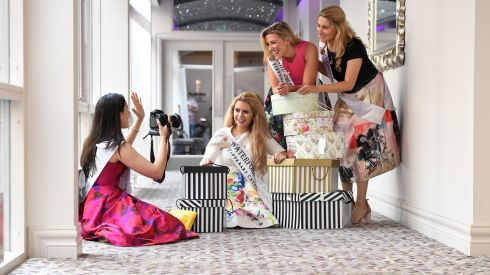Pictures from the Rose of Tralee -- Roses are all set for the Road --  Waterford Chloe McGrath with Abu Dhabi Niamh Kelly and back Texas Lydian Lawler Lopez and London Caoimhe Gallagher .Photo By Domnick Walsh Eye Focus