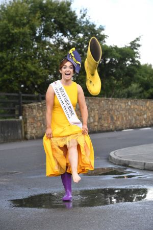 Wexford Rose Julie Sinnott with her Wexford boots outside the Rose of Tralee festival dome . Photo By Domnick Walsh  Eye Focus