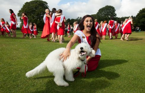 Florida Rose Elizabeth Marnice with Labrapoodle Brady during a introduction of the 65 International Roses hoping to make it through to the 2017 International Rose Television Selections on RT� One at Malahide Castle, Dublin. Photo: Gareth Chaney Collins