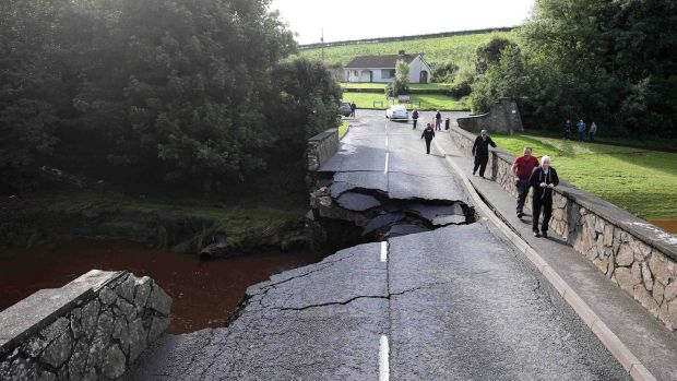 The scene in Claudy after overnight weather caused major disruption. Several people were forced to leave their homes after serious flooding in Derry and the north west on Tuesday night. Photograph: Matt Mackey / Press Eye.