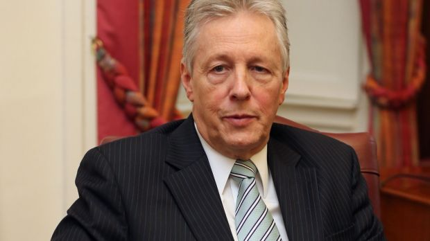 Peter Robinson speaks at Stormont Castle in November 2015 about his decision to step down as Northern Ireland first minister. Photograph: Niall Carson/PA Wire