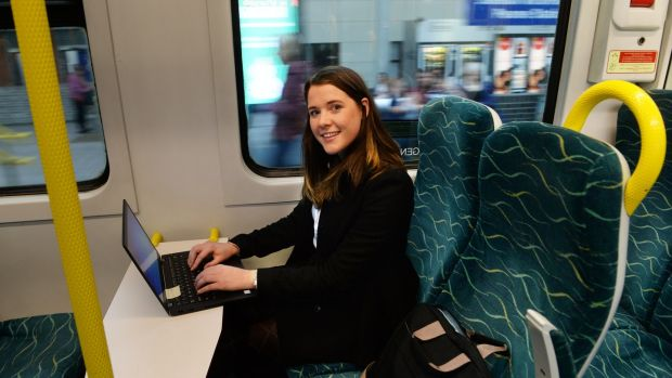 Courtney Cullen on the train back to Wicklow town from Tara Street in Dublin. Photograph: Cyril Byrne