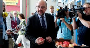 "Candidate for the German chancellorship Martin Schulz: ""You have the choice between a chancellor who avoids every debate about the future and somebody who tells you what he wants."" Photograph: Friedemann Vogel/EPA"