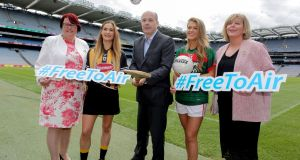 "The women's Gaelic football and Camogie All-Ireland finals have been designated as ""events of major importance to Irish society"" and added to the list of sporting events that must be shown on free-to-air television. At the announcement on Wednesday  were Minister for Communications Denis Naughten, Camogie Association president Catherine Neary, Kilkenny's Miriam Fribsy, Mayo's Sarah Rowe, and Ladies Gaelic Football Association president Marie Hickey."