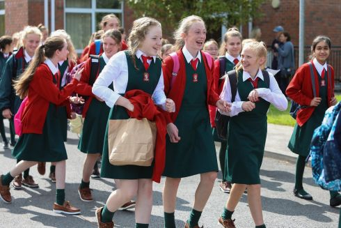 FIRST CLASS: First-year students leave Loreto Clonmel in Co Tipperary after their first day in secondary school. Photograph: John D Kelly