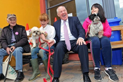 TOP DOGS: Minister for Community and Rural Affairs Michael Ring attends the 76th annual Virginia Agricultural Show, in Co Cavan. Photograph: Lorraine Teevan