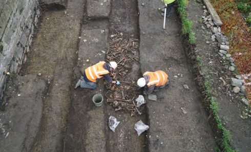 TRACK RECORD: Luas Cross City archaeologists uncover in 2015 the skeletons of up to 1,700 cholera victims buried in two trench graves, near Grangegorman, Dublin.