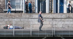 A general view of the boardwalk on the river Liffey. Photograph: Dave Meehan/The Irish Times