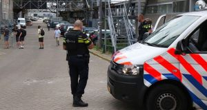 Dutch police outside the Maassilo venue in central Rotterdam. Photograph: Twitter