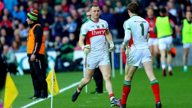 Mayo goalkeeper Robert Hennelly leaves the field after being black carded in last year's All-Ireland final. David Clarke comes on. Photograph: James Crombie/Inpho